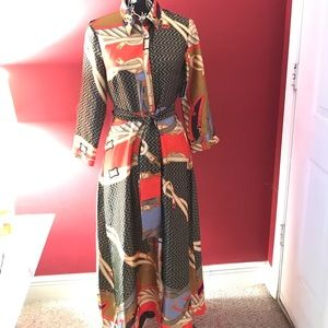 Zara multi colored maxi button down dress